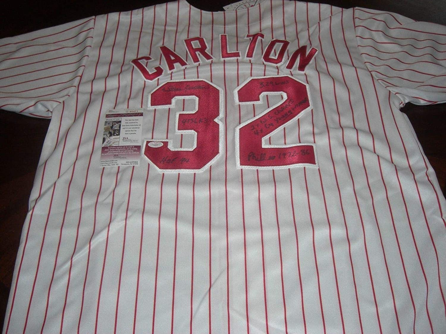 Autographed Steve Carlton Jersey - hof 94 4136 Ks 4x Cy Young 2x Ws coa -  JSA Certified - Autographed MLB Jerseys at Amazon s Sports Collectibles  Store 95130b1a165