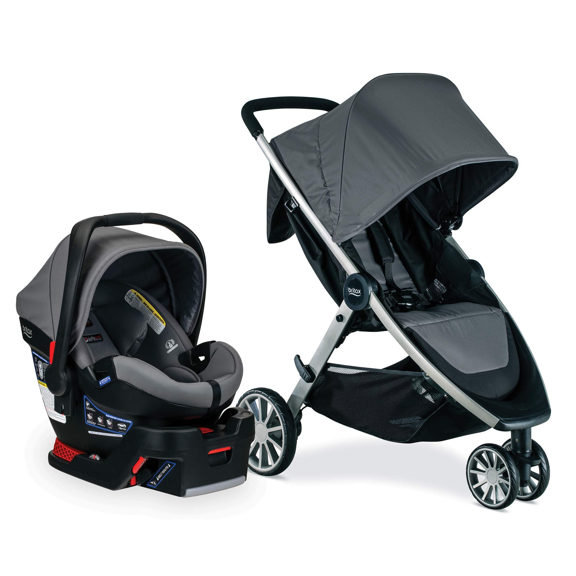 Britax B-Lively Travel System with B-Safe Ultra Infant Care Seat, Gris - Birth to 55 pounds by BRITAX