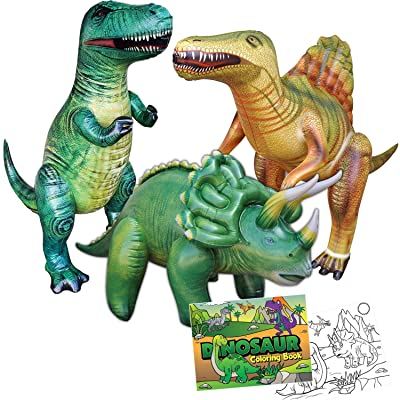 Jet Creations 4-pk Dinosaur Party Bundle Inflatable Triceratops Spinosaurus Trex, 1 Dinosaur Theme Coloring Books. Home School Learn From Home Party Supplies Party Favors Birthday After School Toys for Boys and Girls. JC-D300