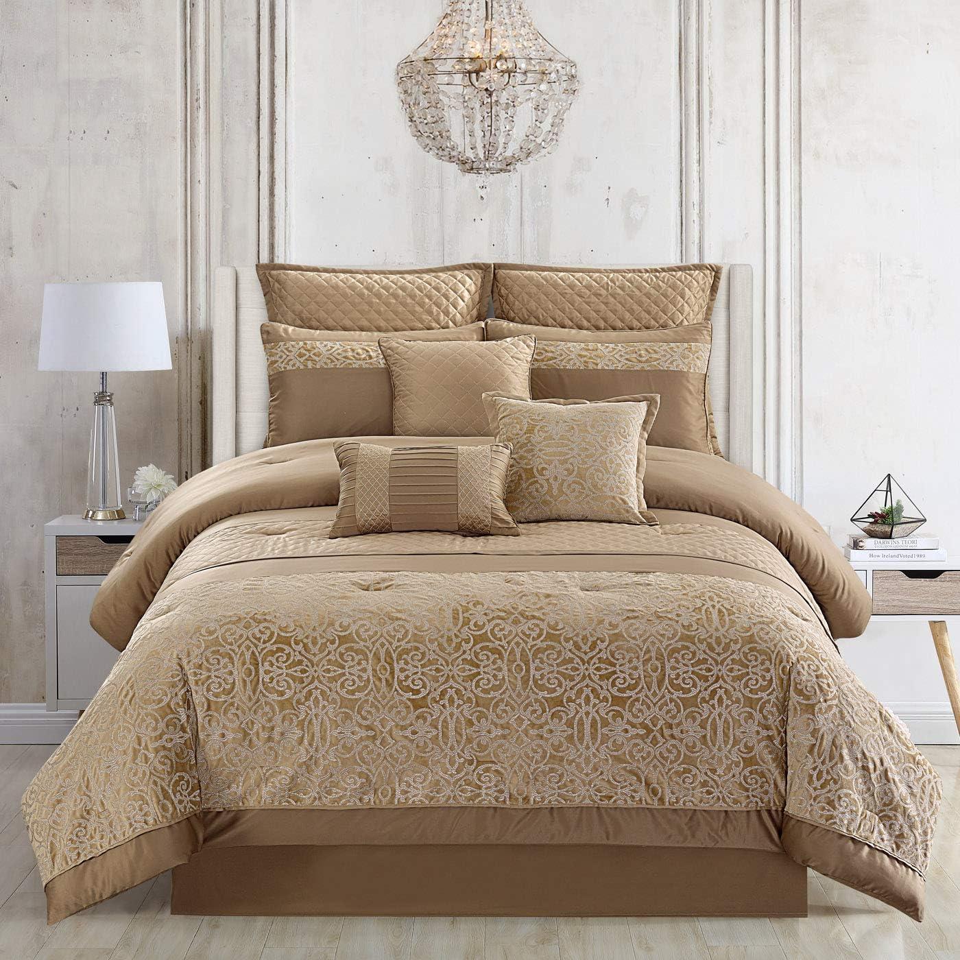 Amazon Com Riverbrook Home 8100 Polyester Comforter Set Queen 9 Piece Moraga Gold Home Kitchen