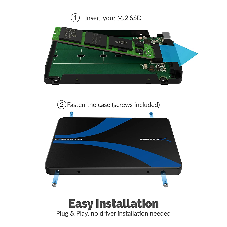 Sabrent M.2 SSD [NGFF] to USB 3.0 / SATA III 2.5-Inch Aluminum Enclosure Adapter (EC-M2CU)