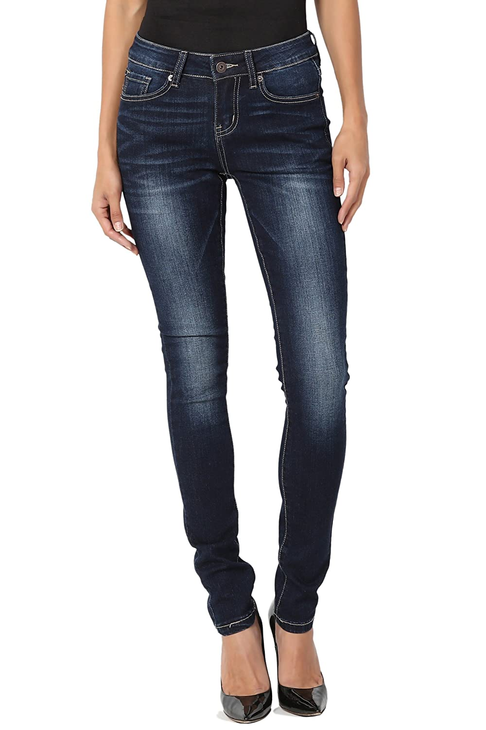 TheMogan Women's Distressed Ripped Destroyed Torned Dark Blue Wash Skinny Jeans CLG-8156
