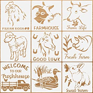 9 Pieces Farm Animal Stencil Kit Sweet Farm Stencil Cow Chicken Sheep Reusable Mylar Template Stencils with Metal Open Ring for Painting on Wood Wall Home Decoration