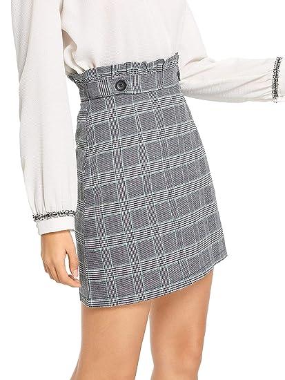 414152103 WDIRARA Women's Ruffle Trim Mid Waist Above Knee A-Line Mini Short Plaid  Skirt