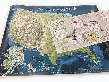 Amazon.com: National Parks Map and USA Travel Destinations Poster ...