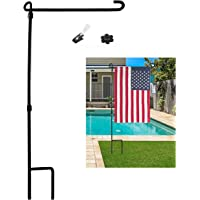 SPORT BEATS Garden Flag Stand Pole Holder with Garden Flag Stopper and Anti-Wind Clip 34″ H x 15″ W for Premium Metal Wrought Iron Powder Coated Weather-Proof Painting Steel