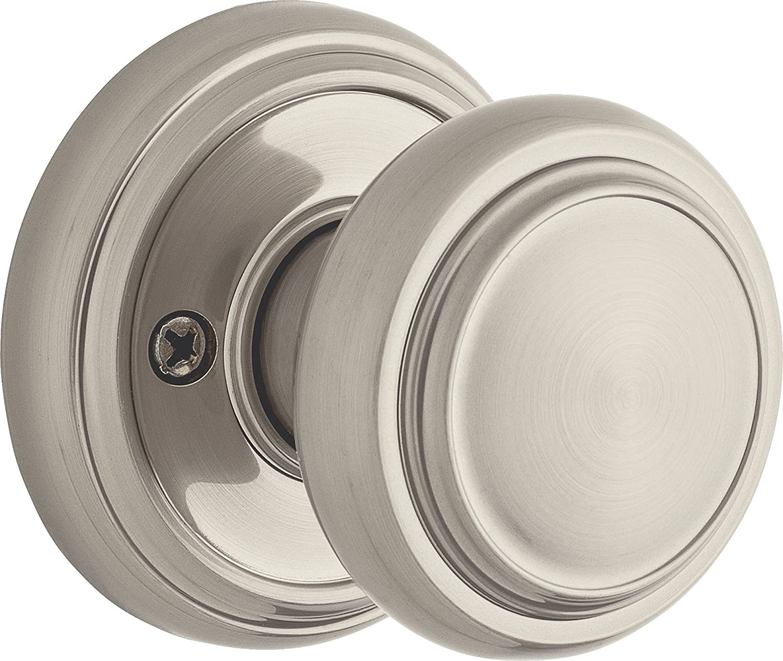 Satin Nickel Exterior Door Knob with Key 9GCA5310-040 Weiser Wickham Entry Knob Featuring SmartKey