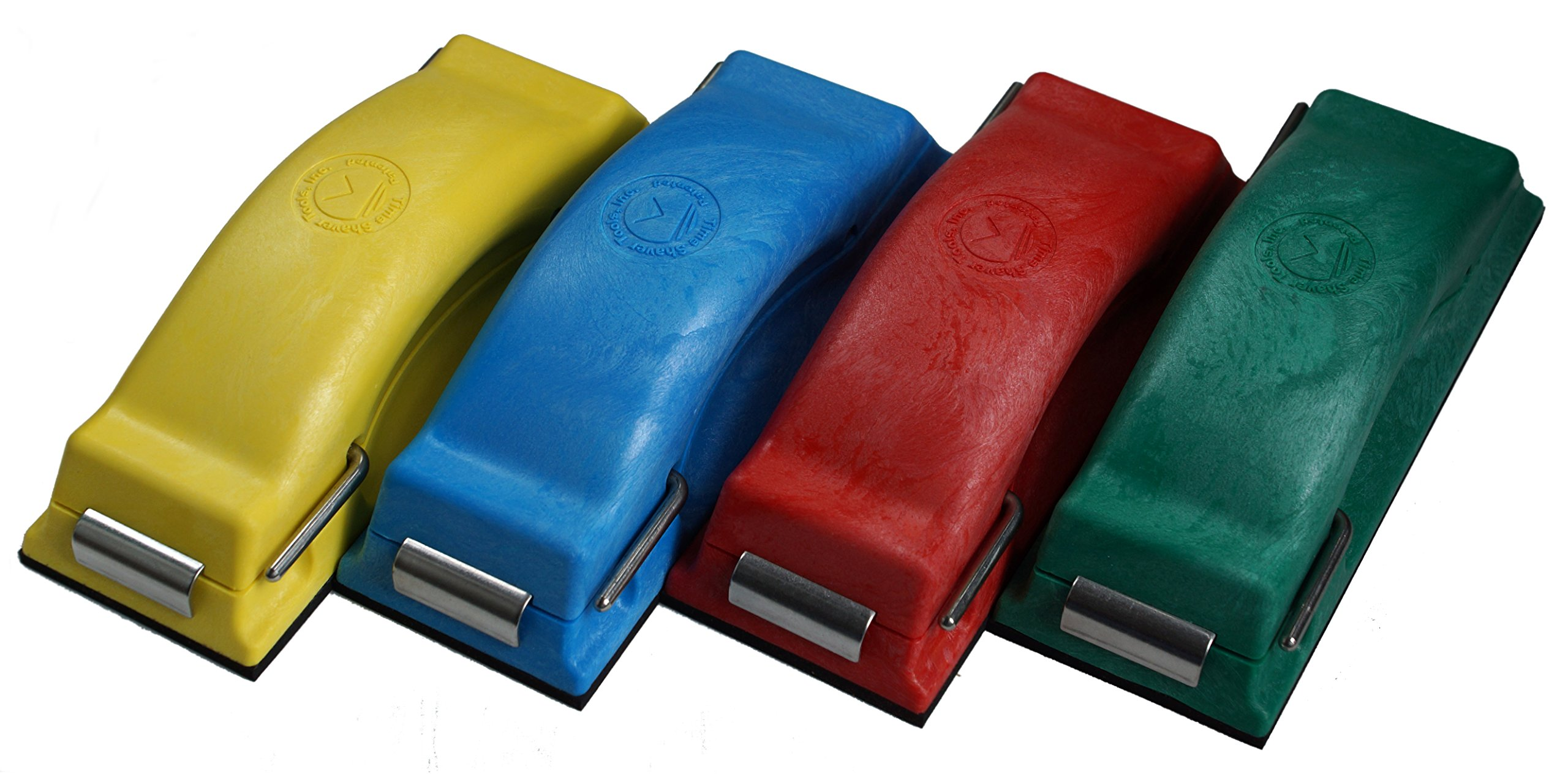 Time Shaver Tools Preppin' Weapon Ergonomic Sanding Block, for Wet and Dry Sanding! Easy to Load, Multi-purpose Plain Paper Sander! Set of 4 Color Coded Hand Sanders in Yellow, Blue, Green and Red.