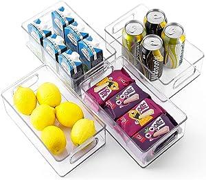 TIMART 4 Pack Organization Storage bins, Stackable Refrigerator Organizers with Handles, Plastic Storage cabinets for Freezer, Kitchen, Countertops, Pantry Food Storage Rack