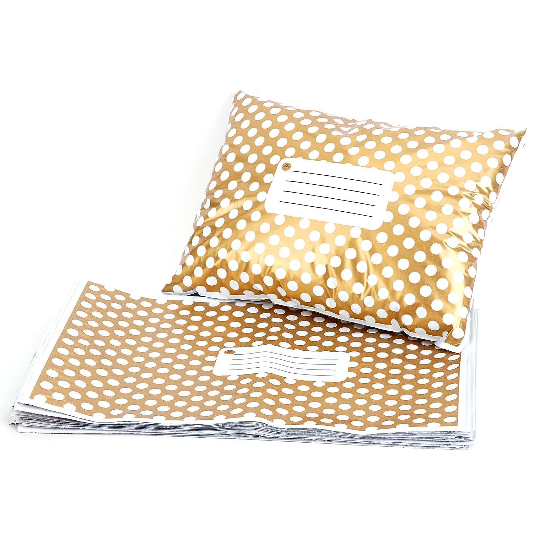 50 pochettes d'expé dition Livraison Sacs tueten Opaque Golden Polka Dots 305 x 406 mm Hamimelon