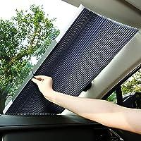 【令和最新版】サンシェード 車 遮光 遮熱 自動伸縮 フロントシェード 吸盤式 プライバシーを保護する (ブラック)