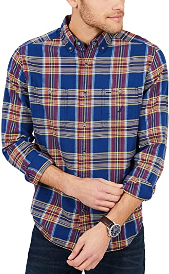 Nautica - Camisa de Franela para Hombre, diseño de Cuadros, Color Azul Marino