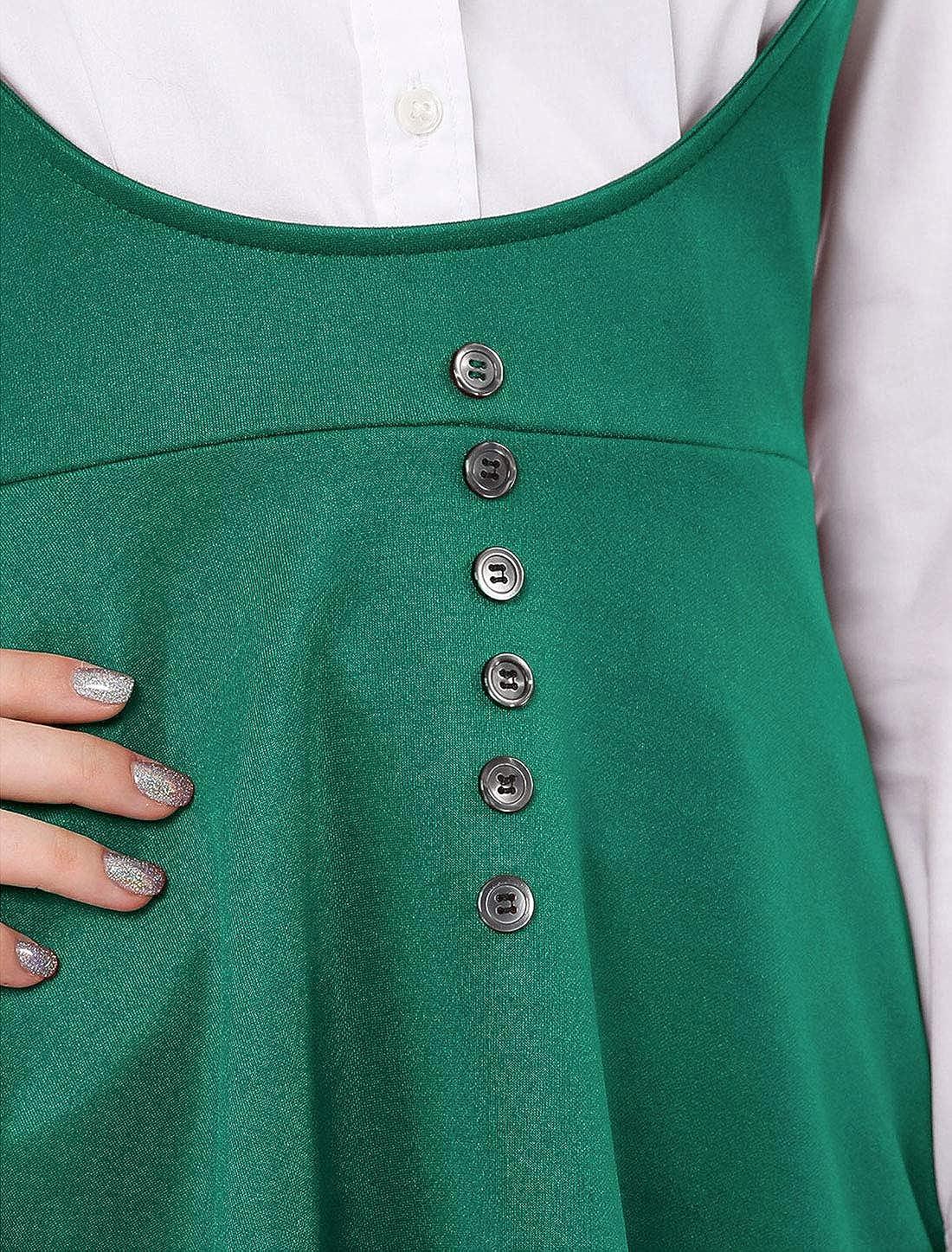 Allegra K Vestido De Mezclilla con Botones por Encima De La Rodilla Manga 3//4 para Mujeres