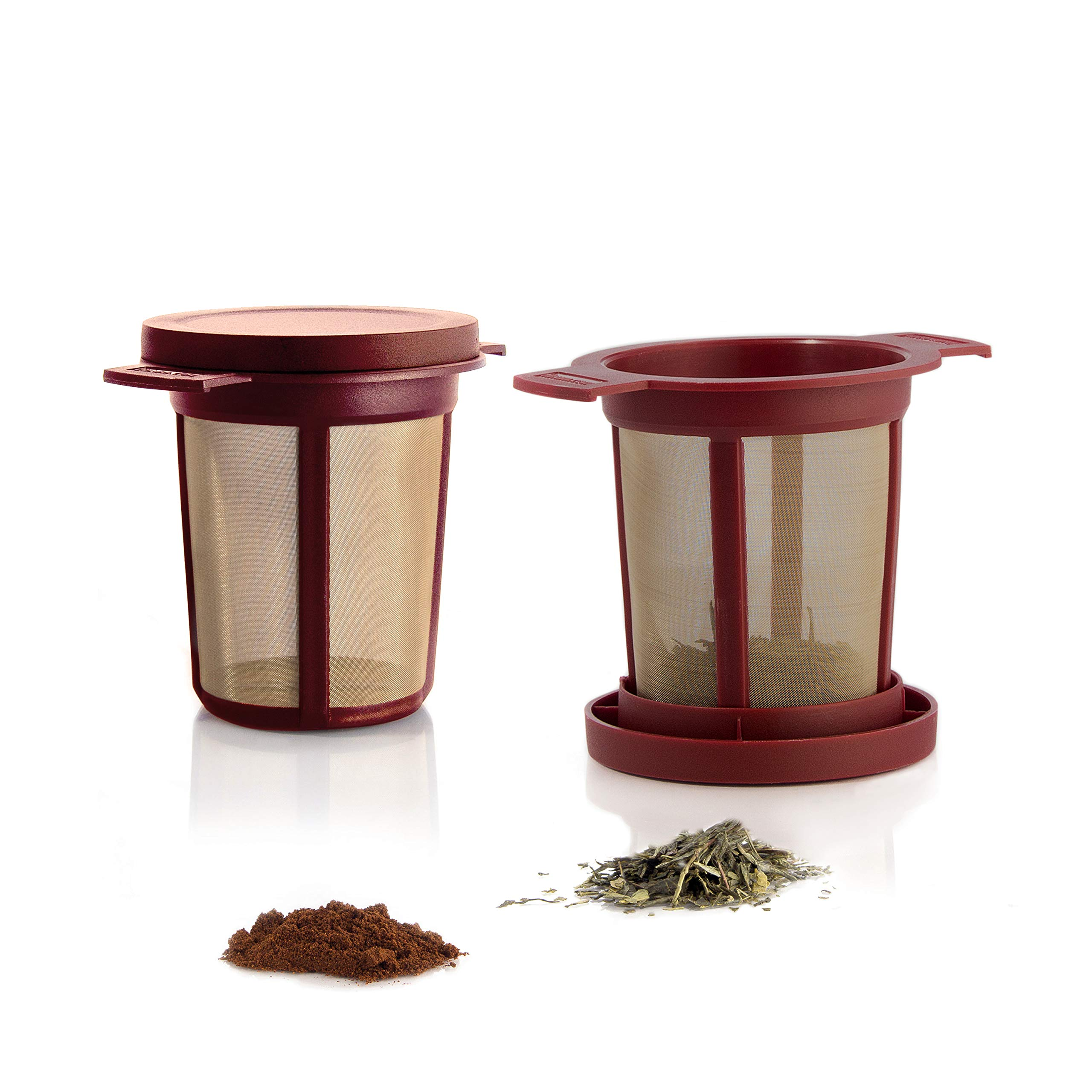 Finum Reusable Stainless Steel Coffee and Tea Infusing Mesh Brewing Basket, Medium, Red
