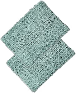 """Raphael Rozen Elegant Bath Set of 2 Microfiber Shag Bath Mat, Non Slip Backing, Ultra Soft, Extremely Absorbent and Fast Drying. Durable, Easy Cleaning, Machine Washable. 5 Light Green 17""""x24"""""""