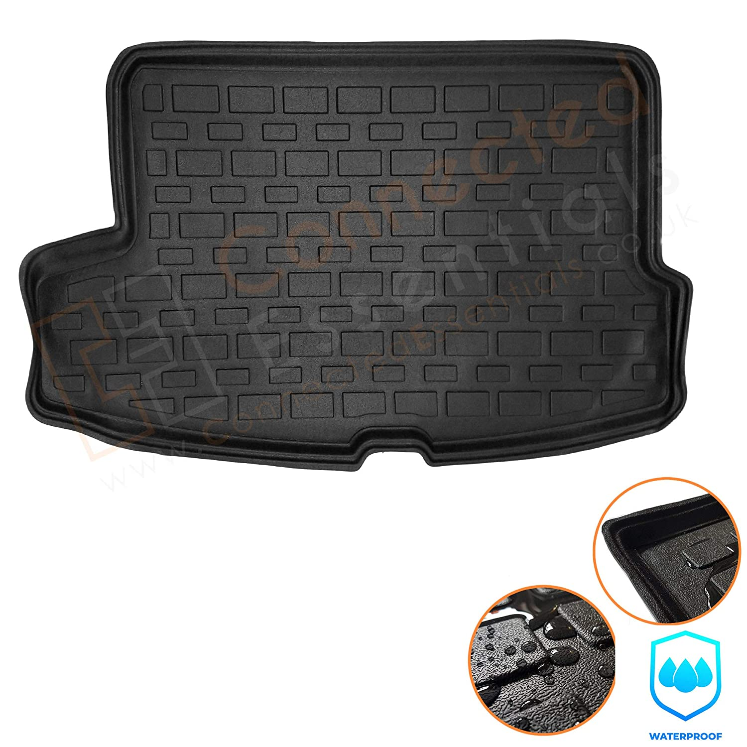 CEB-100 Black Easy Clean Boot Protector Connected Essentials Custom Tailored Vehicle-Specific Moulded Boot Liner Mat For Peugeot 5008 2017