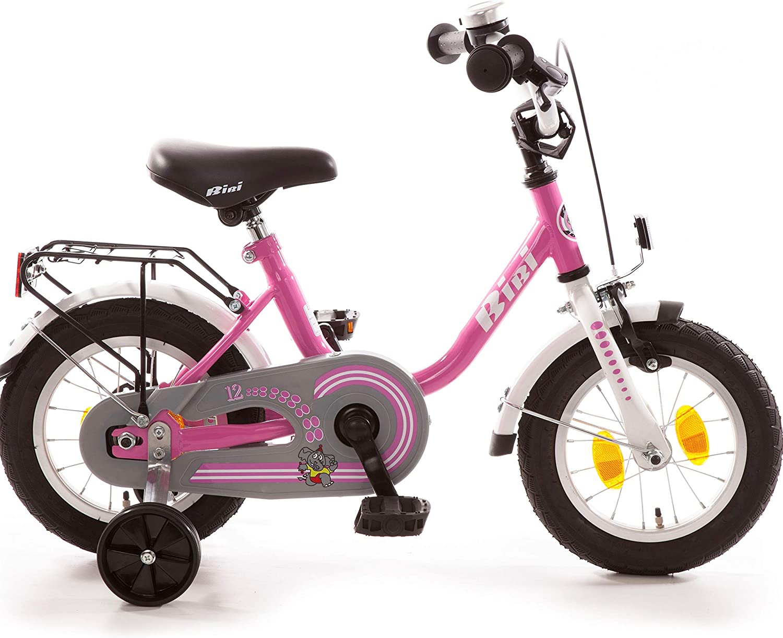 Bibi Kinderfahrrad 12 Zoll mit R/ücktrittbremse und St/ützr/ädern Fahrrad f/ür Kinder Junge M/ädchen Kinderrad Pink Rosa M/ädchenfahrrad