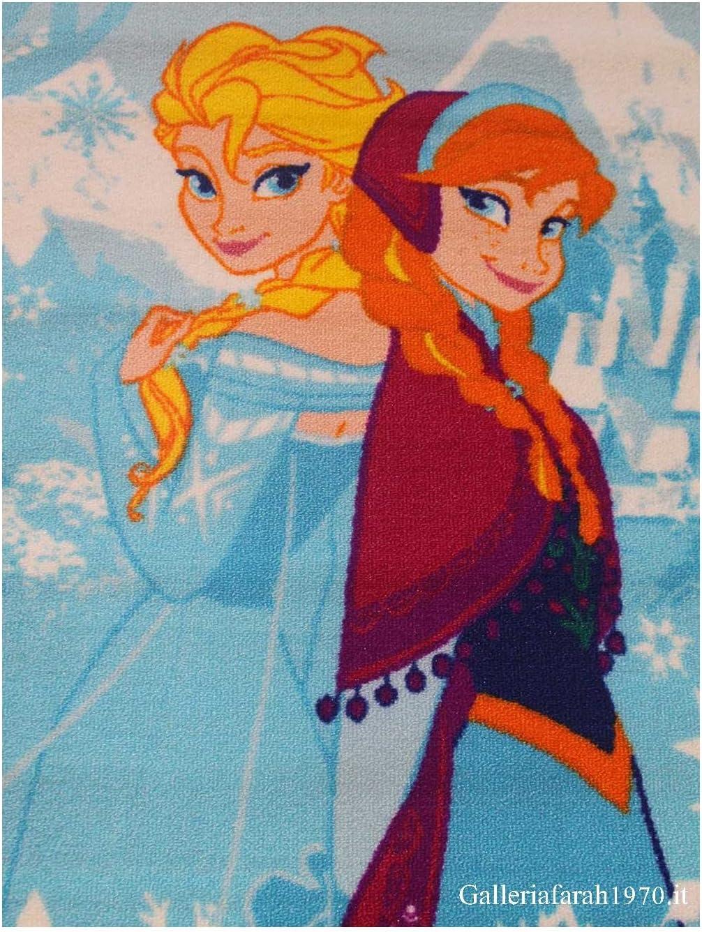 """Nylon Disney-Motiv /""""Frozen mehrfarbig language/_tag - En/_gb Die Eisk/önigin/"""" mit Anna und Elsa 80 x 140 Map Lord of Rugs Matrix-Teppich f/ür Kinder"""