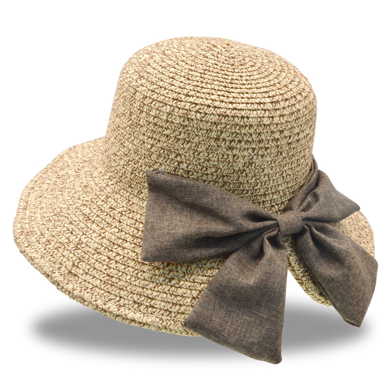Stynice Beach Hats for Women Big Bowknot Straw Beach Hat Straw Sun Hat Wide Brim Fedora for Beach, Traveling 58-60cm