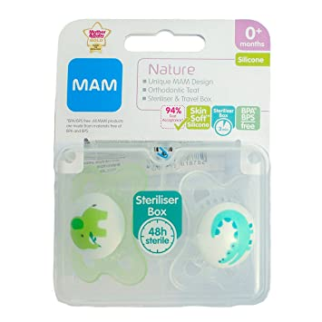 Amazon.com: Mam Nature Soother Twin Pack 0.0 ft+ (Elephant ...