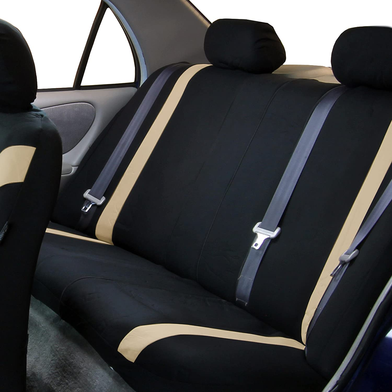 Airbag Compatible and Split Bench Truck FH Group FH-FB054115 Gray Cosmopolitan Flat Cloth Seat Covers or Van Gray//Black Color-Fit Most Car SUV