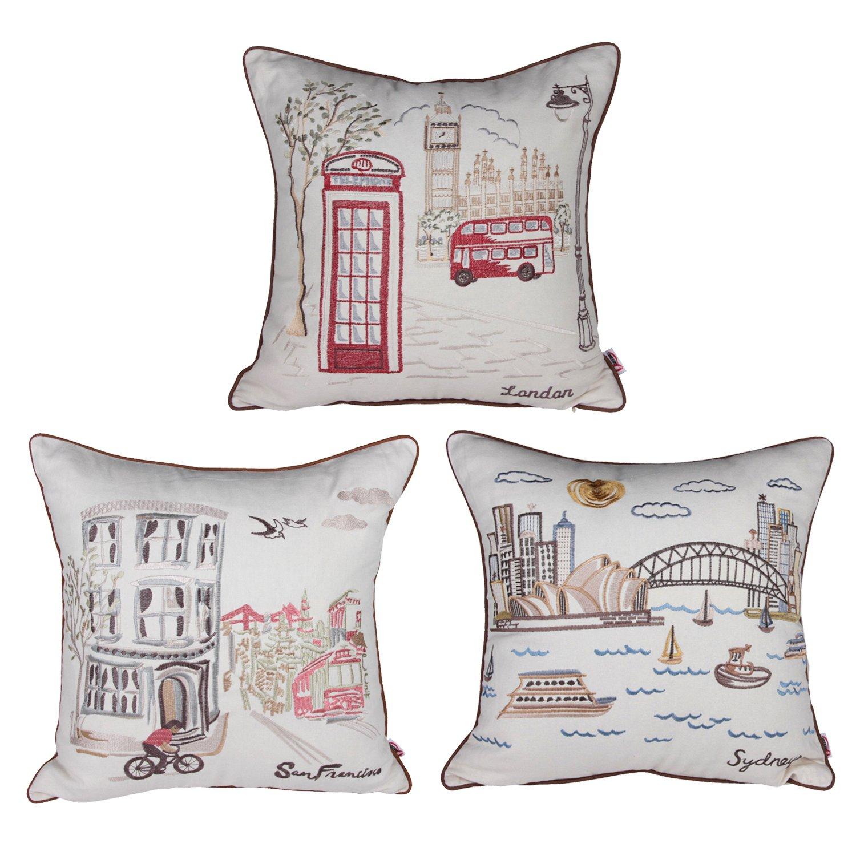 3 Pc City Scene Embroidery Cotton Linen Decorative Pillowcase Throw Pillow Case Cushion Cover