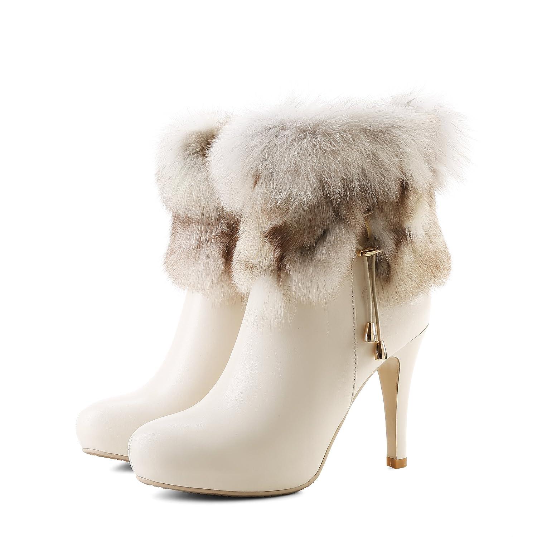 Ladies Fashion Zip Round Toe Thin Heels Genuine Leather High Heels Black White Ankle Women Boots
