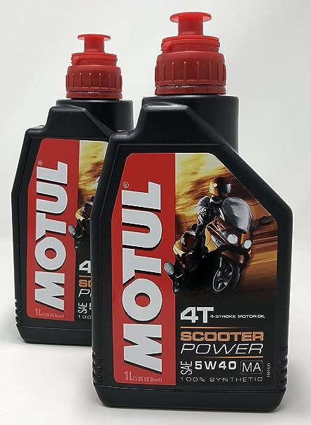 MOTUL Acete Motor Moto 4 Tiempos Scooter Power SAE 5W-40 MA, 2 litros (2x1 lt): Amazon.es: Coche y moto