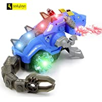 Zest 4 Toyz Realistic Design Mechanical Robotic Dragon Toy, Walking Dragon Dinosaur Toy with Fire Breathing Water Spray Mist Red Light Function & Realistic Sounds-Assorted Color