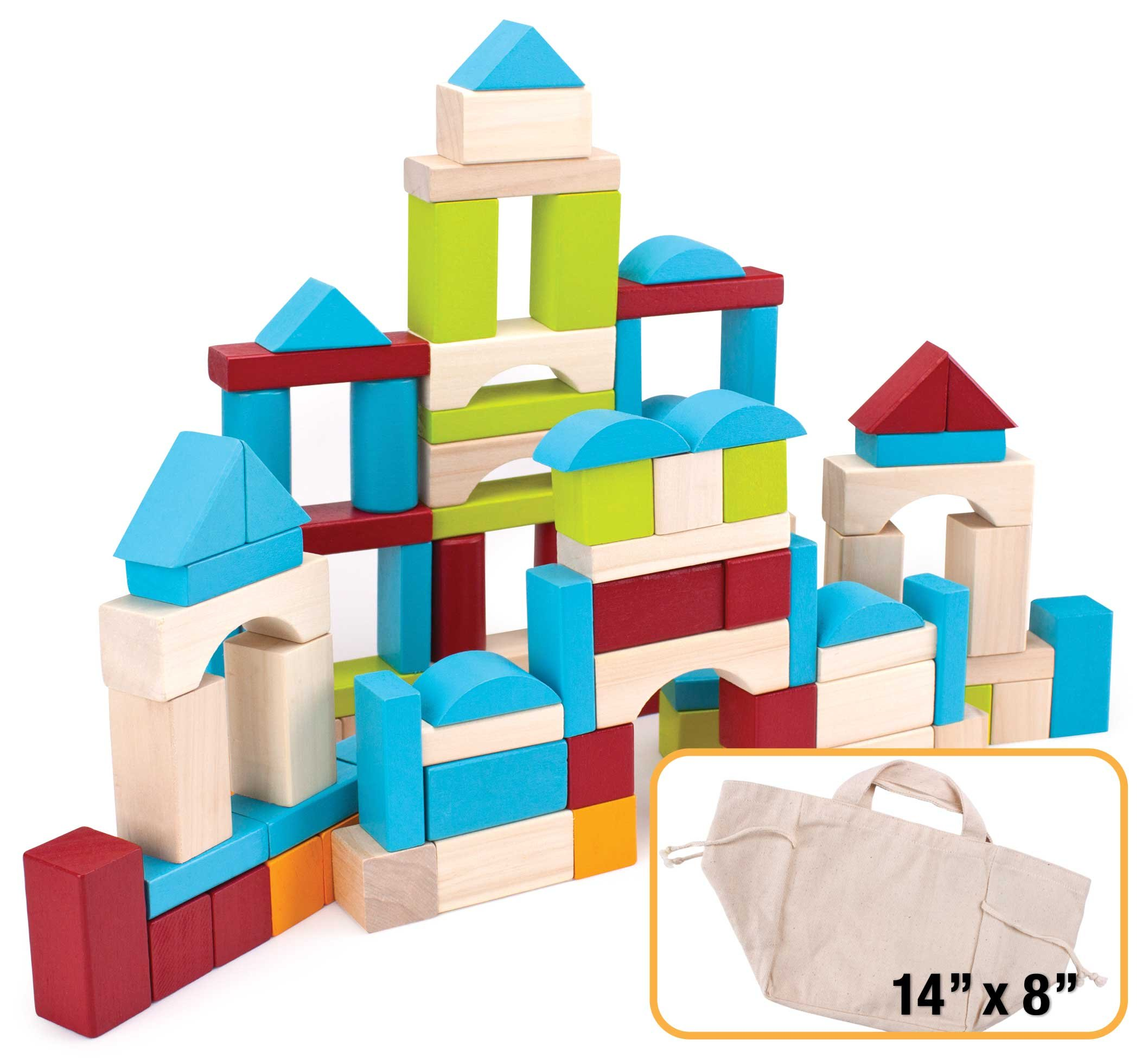 100 Piece Natural Wooden Building Block Set with Carrying Bag – Children's Deluxe Stacking Toy Set by Imagination Generation