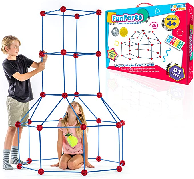 GAMELAND Fort Building Kit 120 Pieces Kids Construction Learning Toys for Boys and Girls to DIY Building Castles Tunnels Play Tent Rocket Tower Indoor /& Outdoor