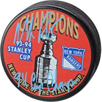 """$79 » Mike Richter New York Rangers Autographed 1994 Stanley Cup Champions Logo Hockey Puck with""""1994 SC Champs"""" Inscription - Fanatics…"""