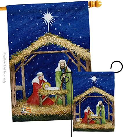Amazon Com Breeze Decor Nativity Of Jesus Garden House Flags Set Winter Three King Religious Holy Family Season Wintertime Christian Small Decorative Gift Yard Banner Double Sided Made In Usa 28 X 40