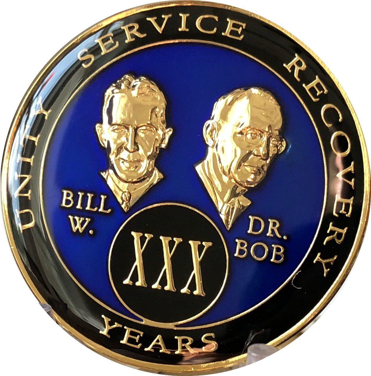 30 Year Founders Blue Tri-Plate AA Medallion Bill & Bob Chip XXX