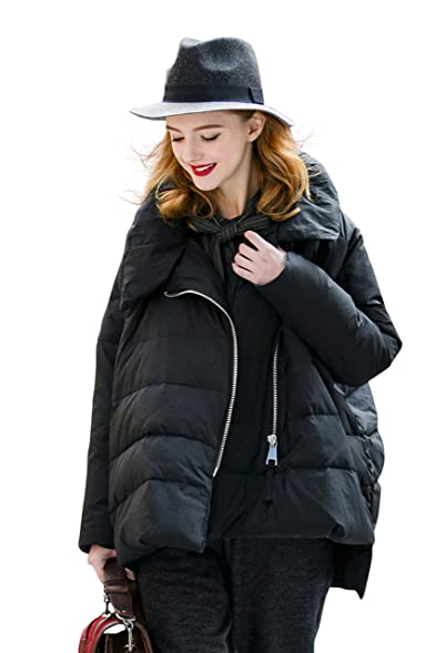 YOU.U Women Asymmetrical Winter Water Resistant Quilted Coat with ...