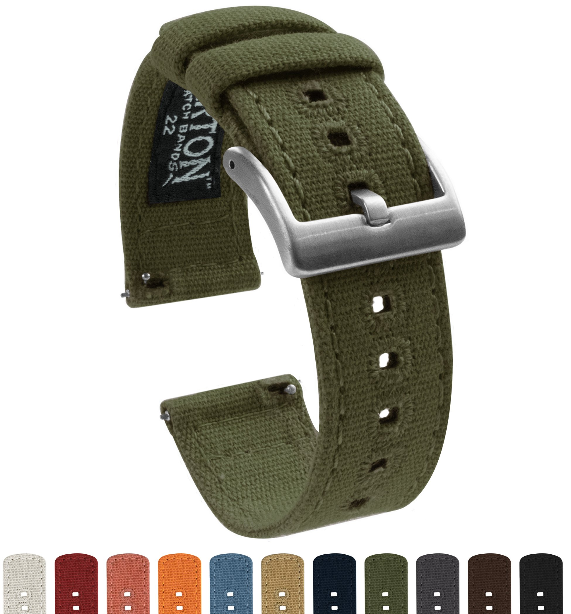 BARTON Canvas Quick Release Watch Band Straps - Choose Color & Width - 18mm, 20mm, 22mm - Army Green 20mm