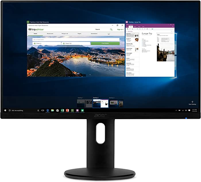 "Acer ET241Y Abmir 23.8"" Full HD (1920 x 1080) IPS Zero Frame Monitor with Tilt/Height Adjustment and Built-in Speakers (HDMI & VGA port),Black"