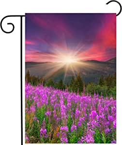 """ShineSnow Mountains with Pink Floral Flowers Spring Summer Autumn Nature Scenery Garden Yard Flag 12""""x 18"""" Double Sided Polyester Welcome House Flag Banners for Patio Lawn Outdoor Home Decor"""