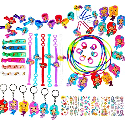 YALLFF 60-pack mermaid party favors supplies bracelets,necklaces, rings,bookmarks,hairclips, brooches, hair ties,keychains,tattoos-girls birthday gift-Goodie Bag Fillers: Toys & Games