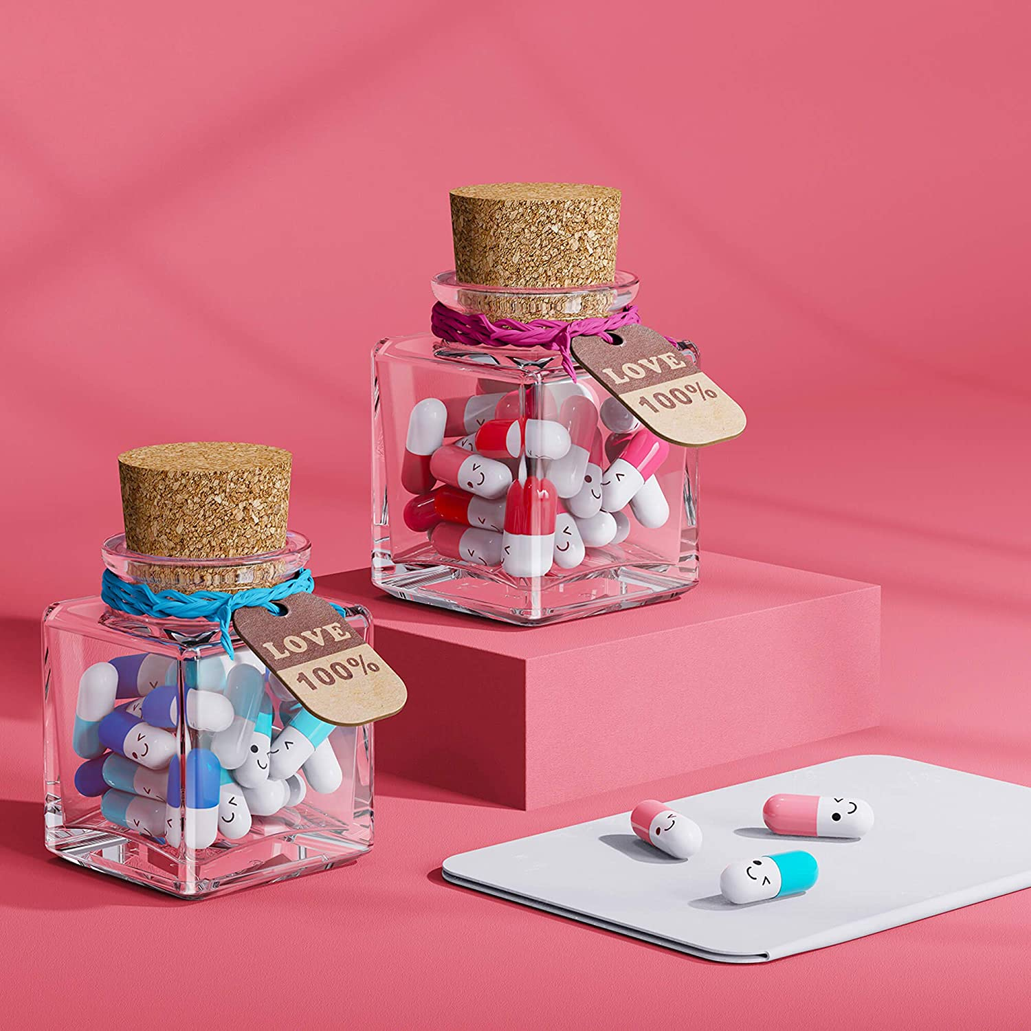 Mixed Blue /& Mixed Pink 50pcs Write Down Your Private Conversation JOFUYU Boyfriend/'s-Birthday Message Cute-Jar Matching-Couple The Coolest Gift for Boyfriend and Girlfriend
