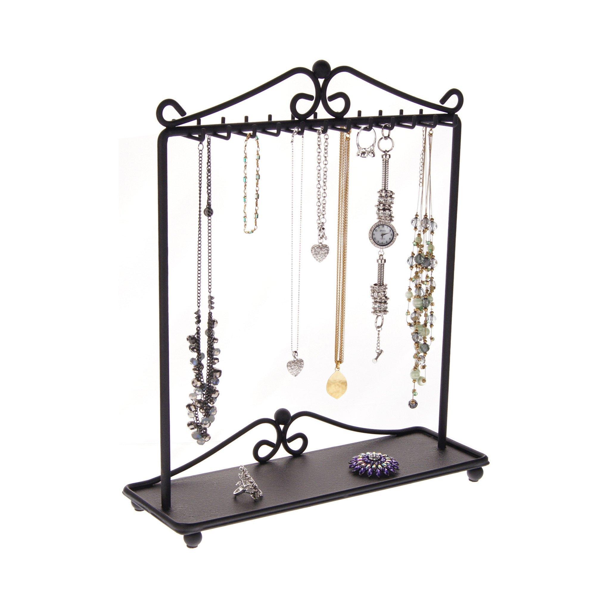 Necklace Holder Stand Jewelry Organizer Hanging Necklace Tree Bracelet Storage Rack Display, Calla Black