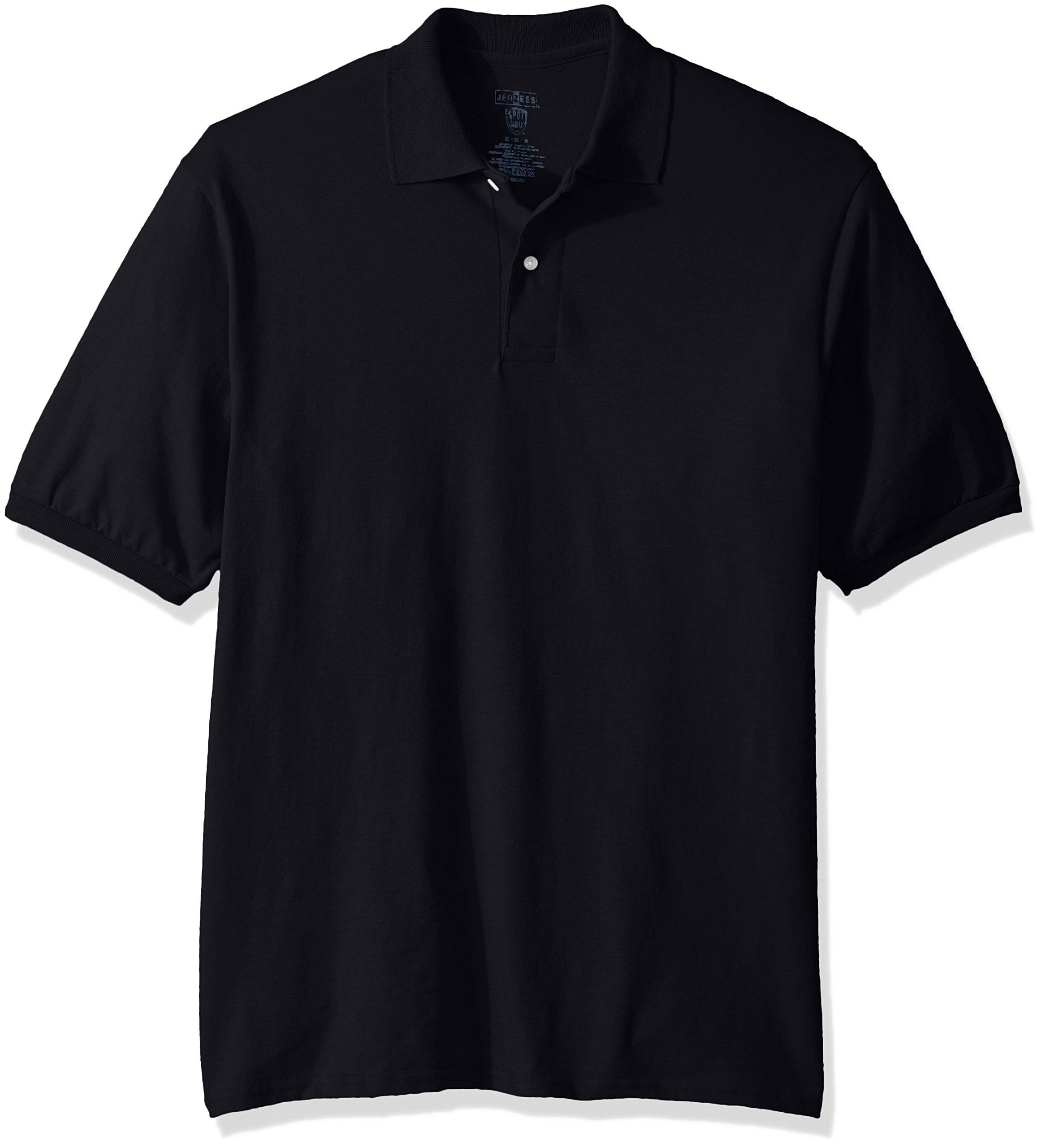 Jerzees Men's Spot Shield Short Sleeve Polo Sport Shirt, Black, 5X-Large