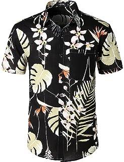 223f459d4e00 Amazon.com  Jotebriyo Men Shirt Beach Shorts African Floral Print 2 ...