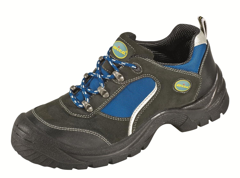 Chaussures Protectrices S1 'Gö hren' Imitation des Chaussures Sportives, Cuir de Velours, Bouchon d'acier Semelle PUR Antidé rapante - noir-bleu, 43 Bouchon d' acier Semelle PUR Antidérapante - noir-bleu 31161