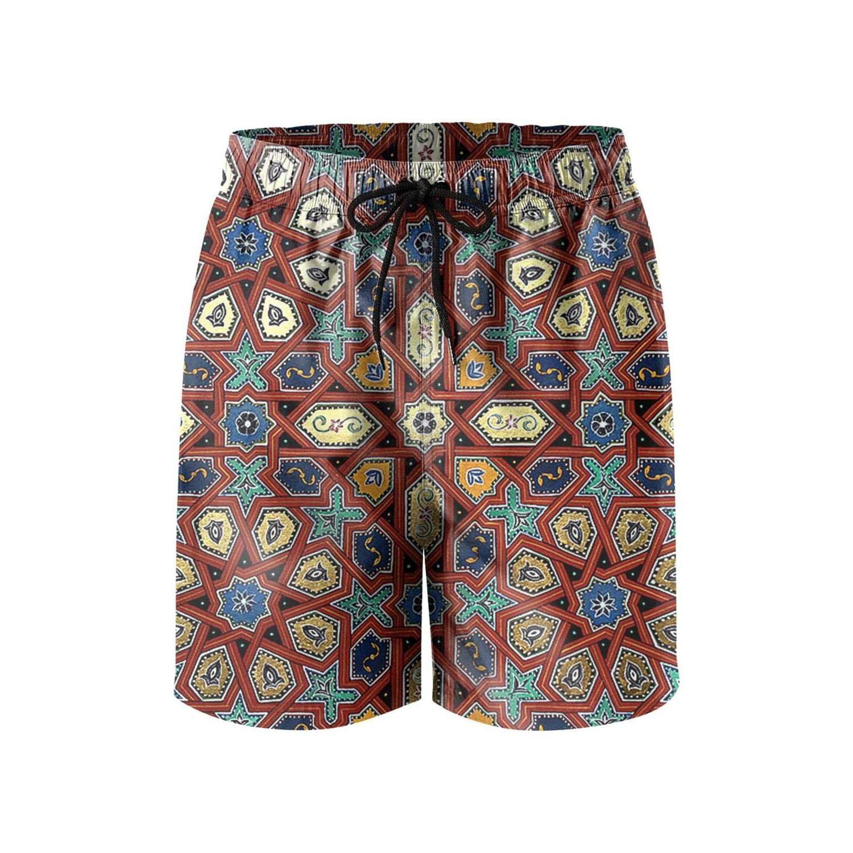 TopCrazy Byzantine Moroccan Square Pattern Beachwear Shorts for Men Surfing Fashion Swim Trunks