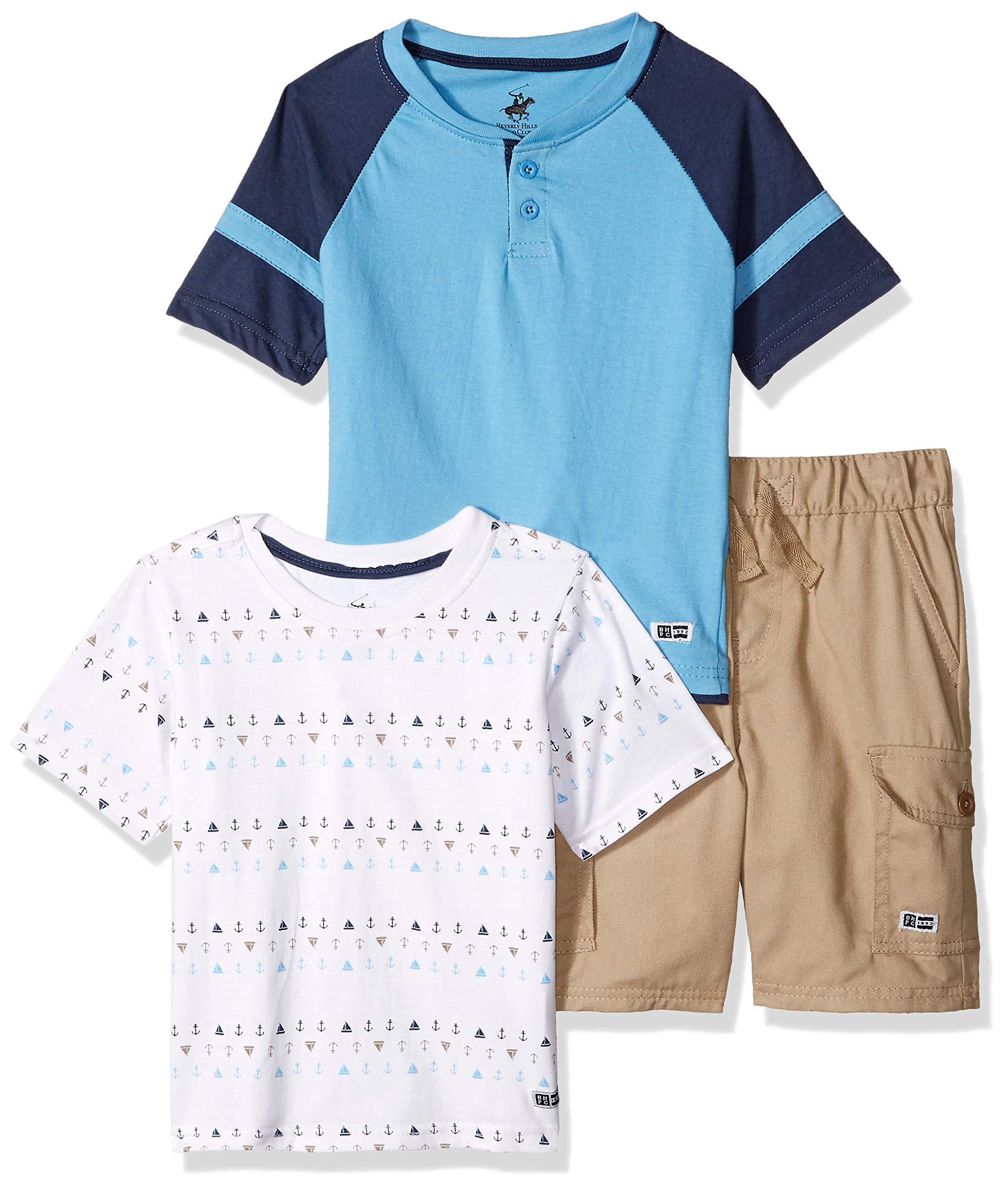 Beverly Hills Polo Club Boys' Little 3 Piece Short Set, Khaki Print 5/6