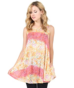 Women's Floral Boat Neck Pocket Sleeveless Tunic