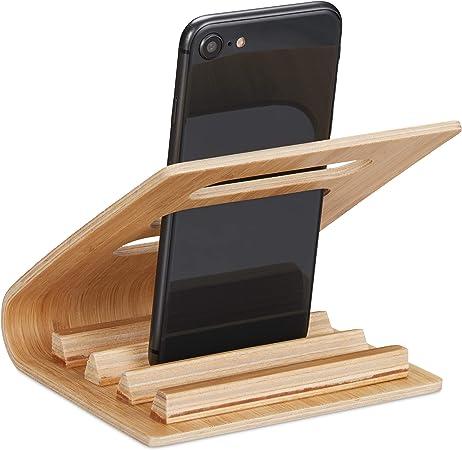 Relaxdays Soporte Móvil Mesa, Sostenedor Teléfono para Smartphone de hasta 7 cm de Ancho, Bambú, Marrón, 10 x 12 x 12 cm: Amazon.es: Hogar