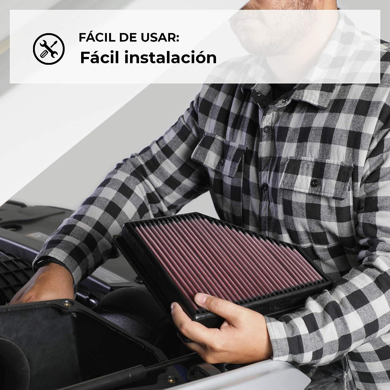 Lavable y Reutilizable K/&N 33-2786 Filtro de Aire Coche