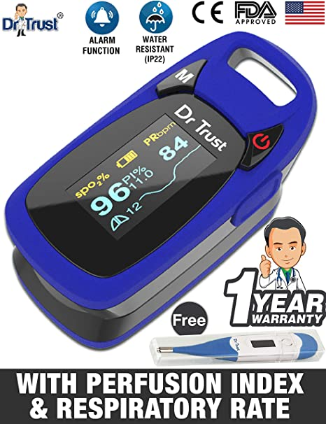 351fa75b1a771 Dr Trust (USA) Professional Series Finger Tip Pulse Oximeter With Audio  Visual Alarm and Respiratory Rate(Blue)
